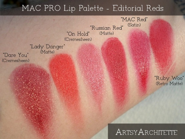 ArtsyArchitette MAC Pro Lip Palette Editoral Reds Lipstick Swatches