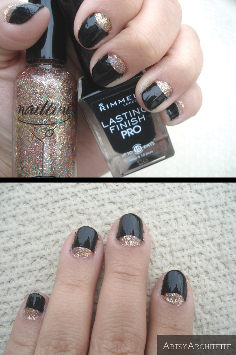ArtsyArchitette New Year Holiday Half-Moon Manicure Nails