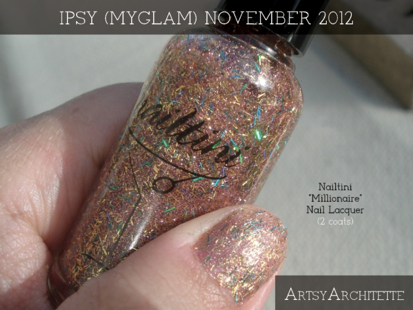 ArtsyArchitette November 2012 Myglam Ipsy Bag Products Nailtini Millionaire
