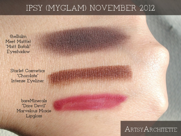 ArtsyArchitette November 2012 Myglam Ipsy Bag Products Swatches