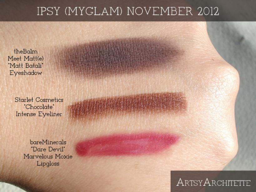 ArtsyArchitette November 2012 Myglam Ipsy Bag Products Swatches