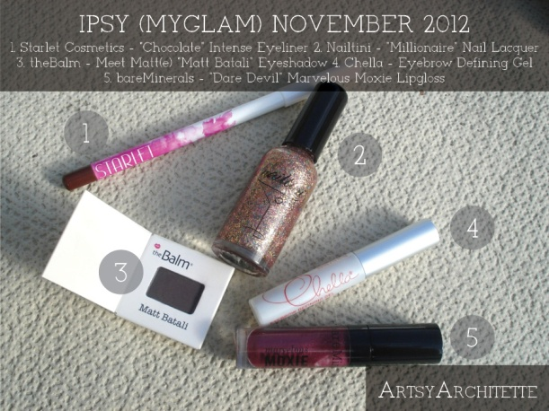 ArtsyArchitette November 2012 Myglam Ipsy Bag Products