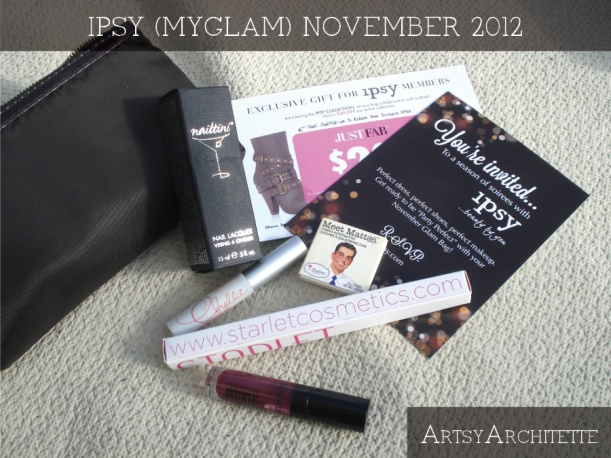 ArtsyArchitette November 2012 Myglam Ipsy Bag