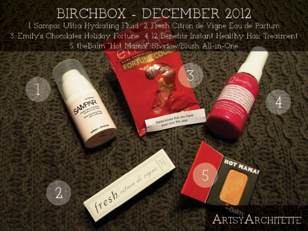 ArtsyArchitette Birchbox December 20122