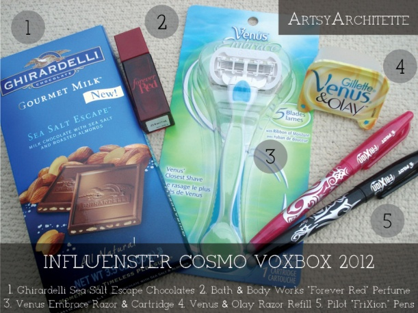 ArtsyArchitette Influenster Cosmo Voxbox 20122