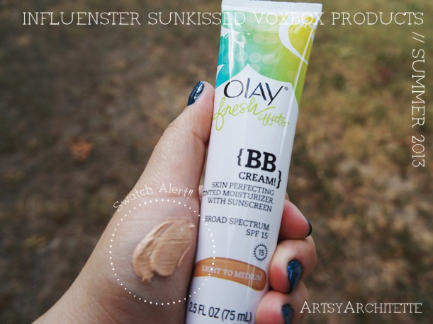 ArtsyArchitette Influenster Sunkissed VoxBox Products 2013 Review Olay BB Cream Light Medium Swatch